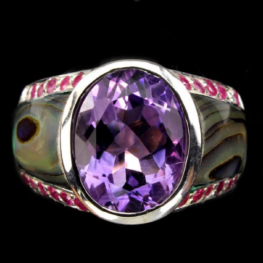Natural Purple Amethyst Ruby Mother Of Pearl 53 Ct Ring - 2