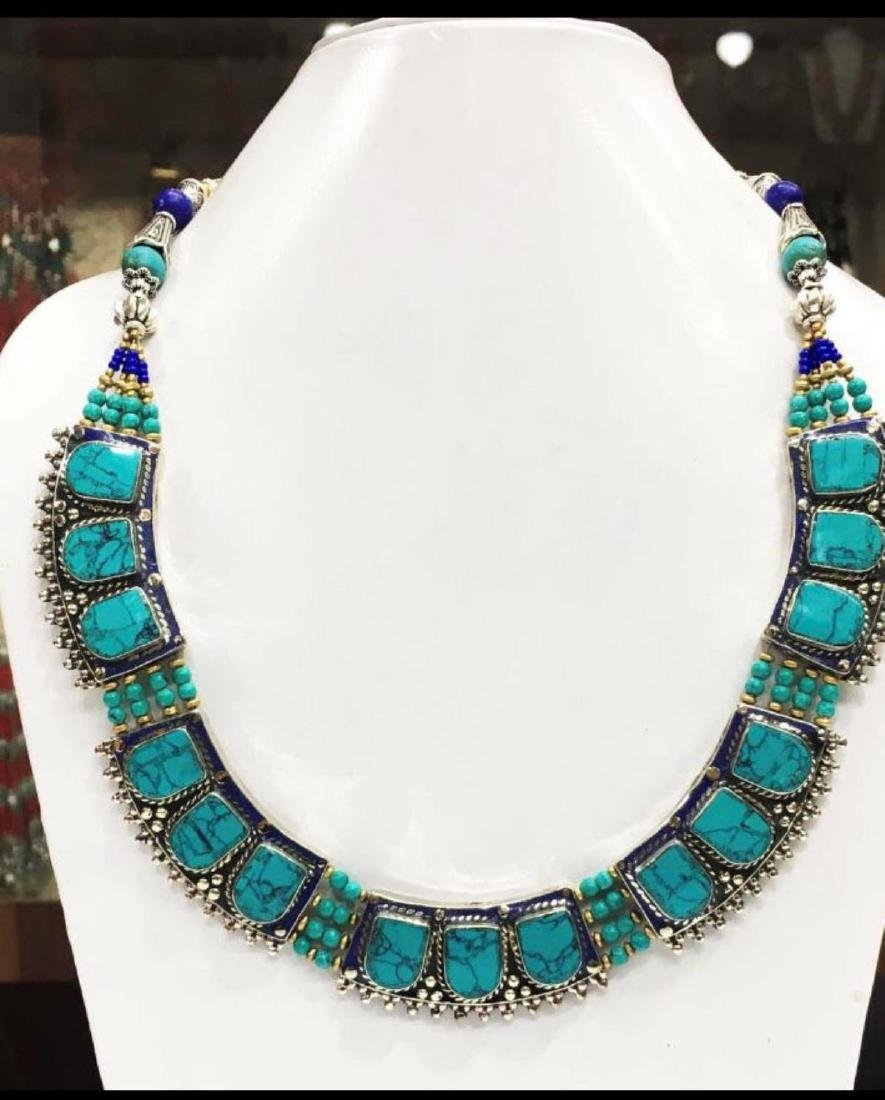 Tibet Hand Made Turquoise & Lapis Lazuli Necklace