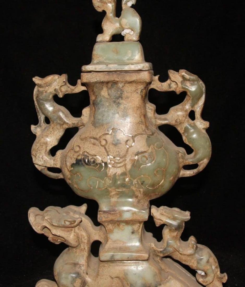Antique Chinese Jade Carving Dragon Beast PiXiu Pot Jar