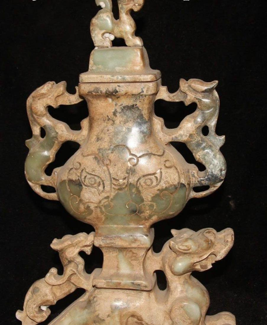 Antique Chinese Jade Carving Dragon Beast PiXiu Pot Jar - 7