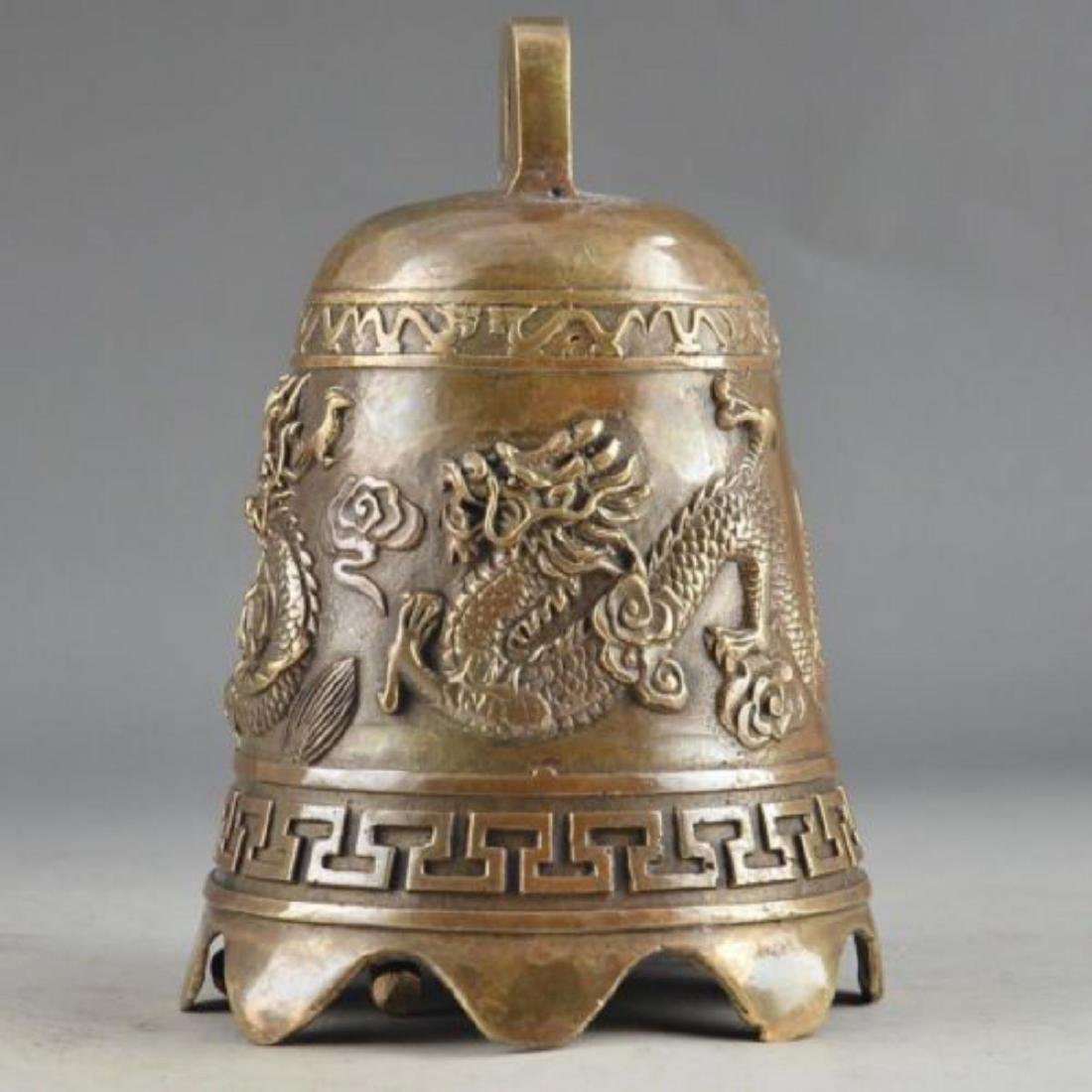 Antique Chinese Brass Dragon Bell - 4