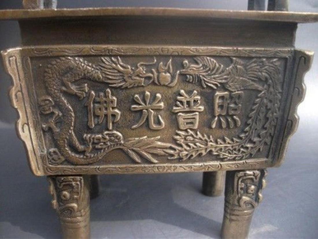 Antique Chinese Carved Bronze Dragon Incense Burner - 3