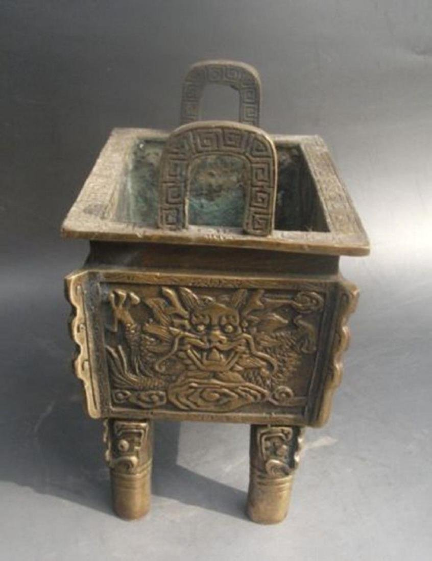 Antique Chinese Carved Bronze Dragon Incense Burner - 5