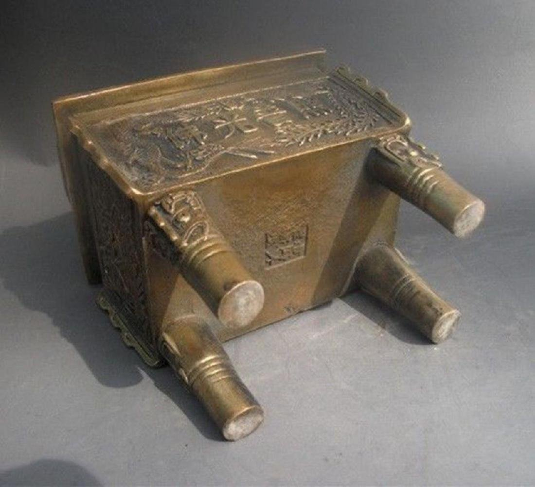 Antique Chinese Carved Bronze Dragon Incense Burner - 7