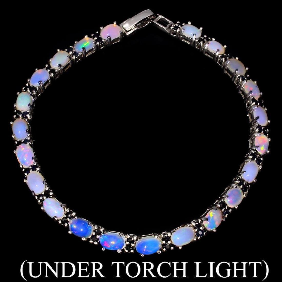 Natural White Opal & Blue Sapphire Bracelet
