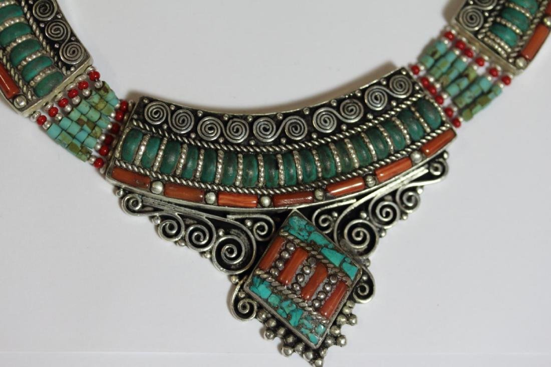 Tibet Hand Made Natural Turquoise & Coral Necklace - 2