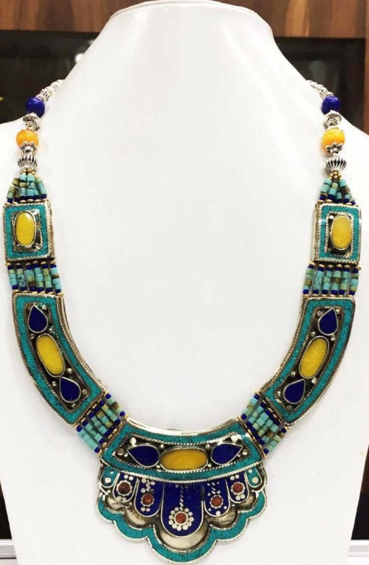 Tibet Hand Made Amber Turquoise, Coral, Lapis Lazuli