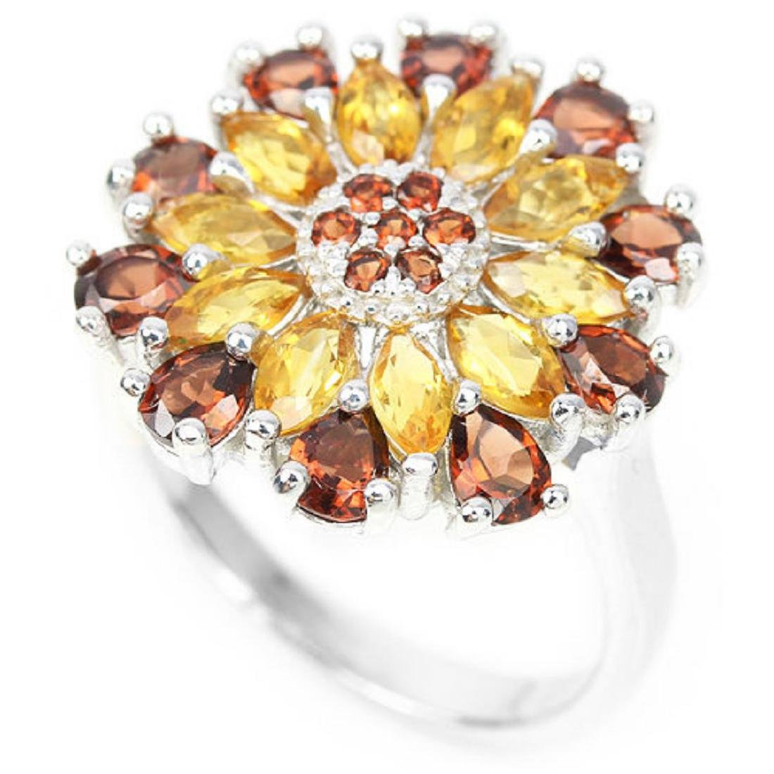 NATURAL ORANGISH YELLOW CITRINE & GARNET RING - 2