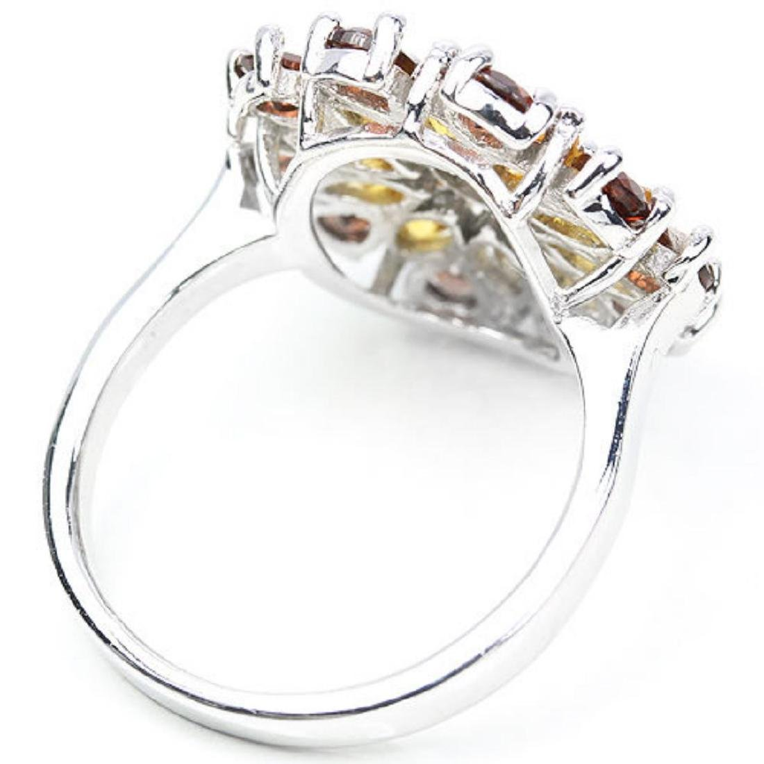 NATURAL ORANGISH YELLOW CITRINE & GARNET RING - 3