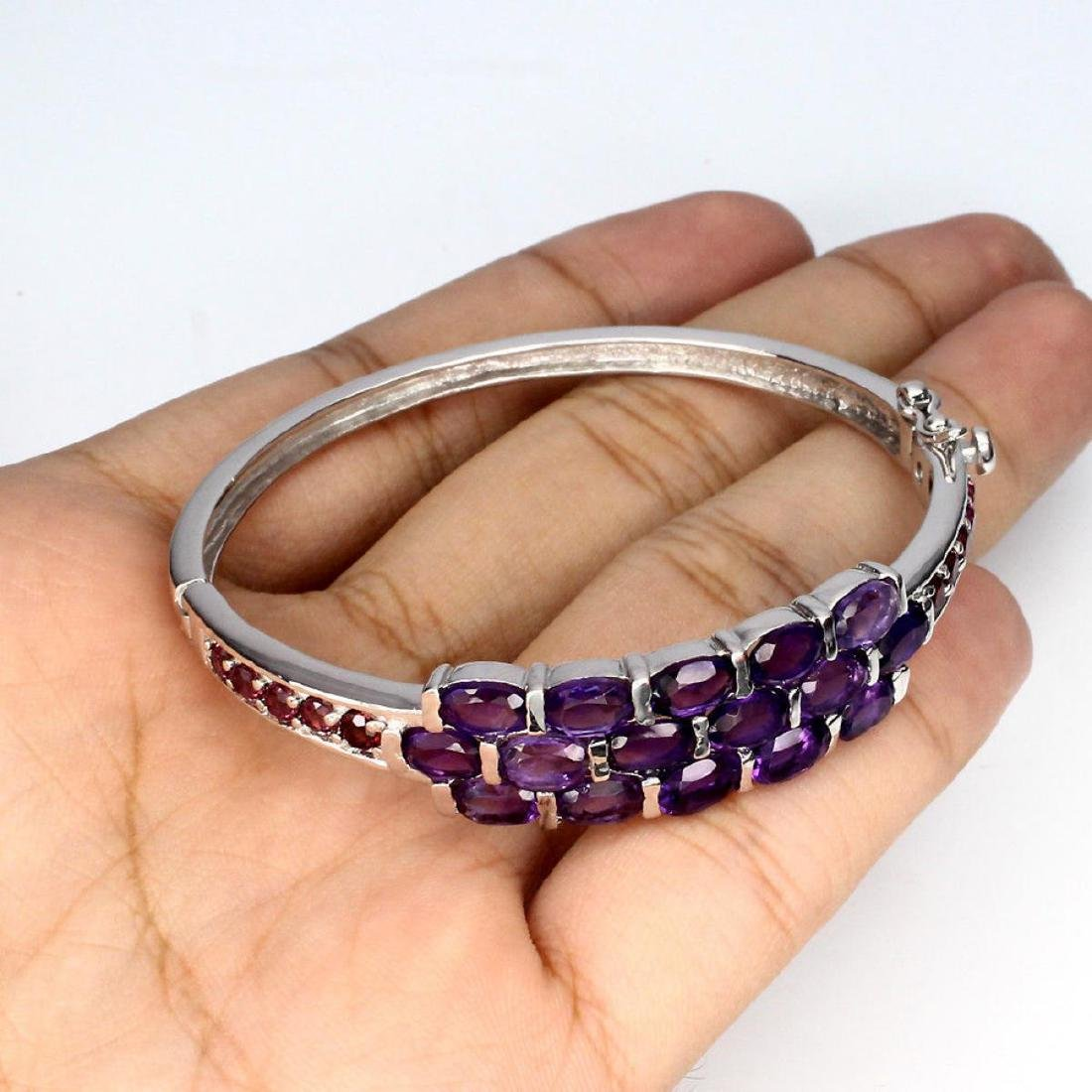 Natural Amethyst Rhodolite Garnet 75.99 Ct Bangle - 3