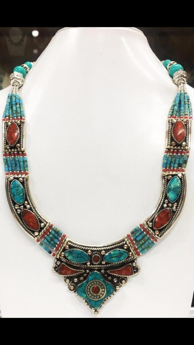 Tibet Hand Made Turquoise, Coral Necklace