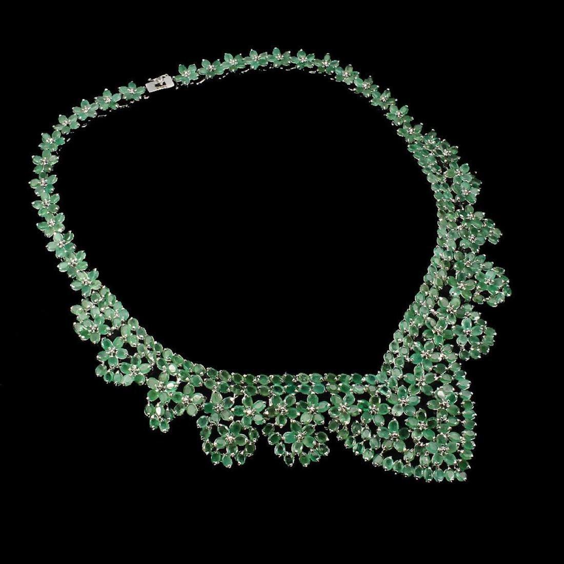 Natural Columbian Emerald 467 Ct Necklace - 2