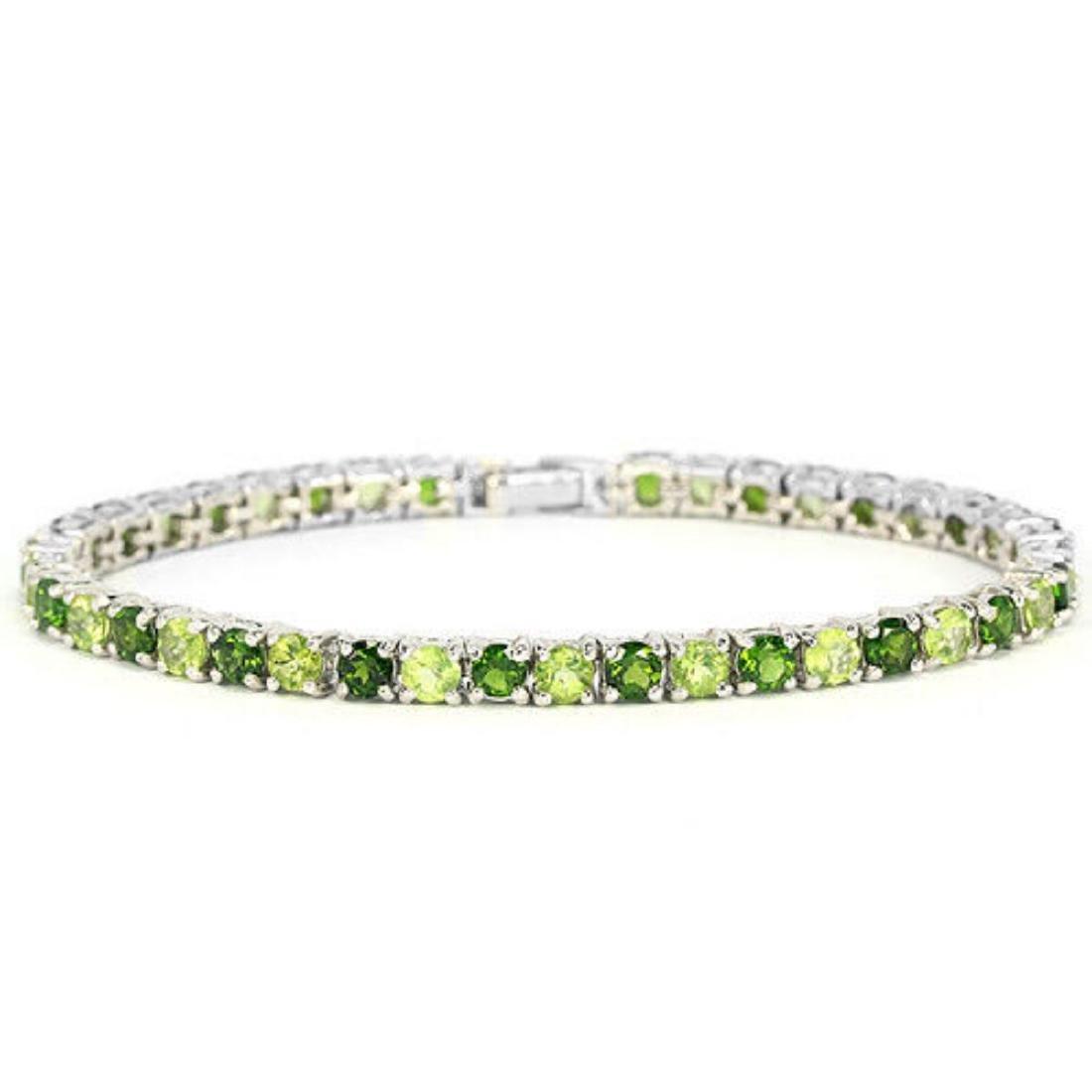 NATURAL GREEN CHROME DIOPSIDE & PERIDOT Bracelet