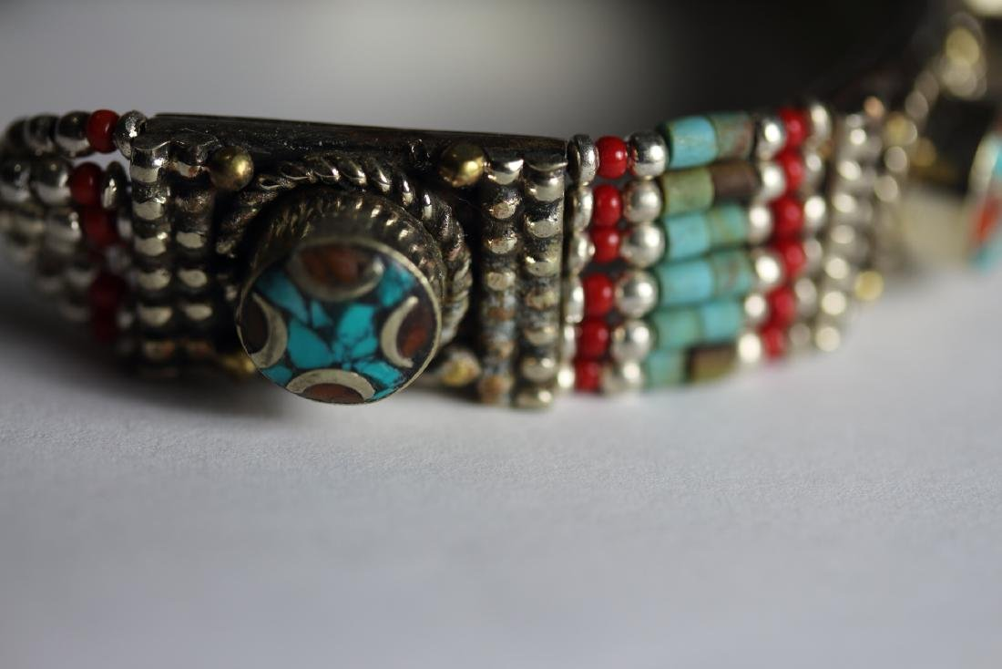 Tibet Hand Made Turquoise & Coral Bracelet - 2
