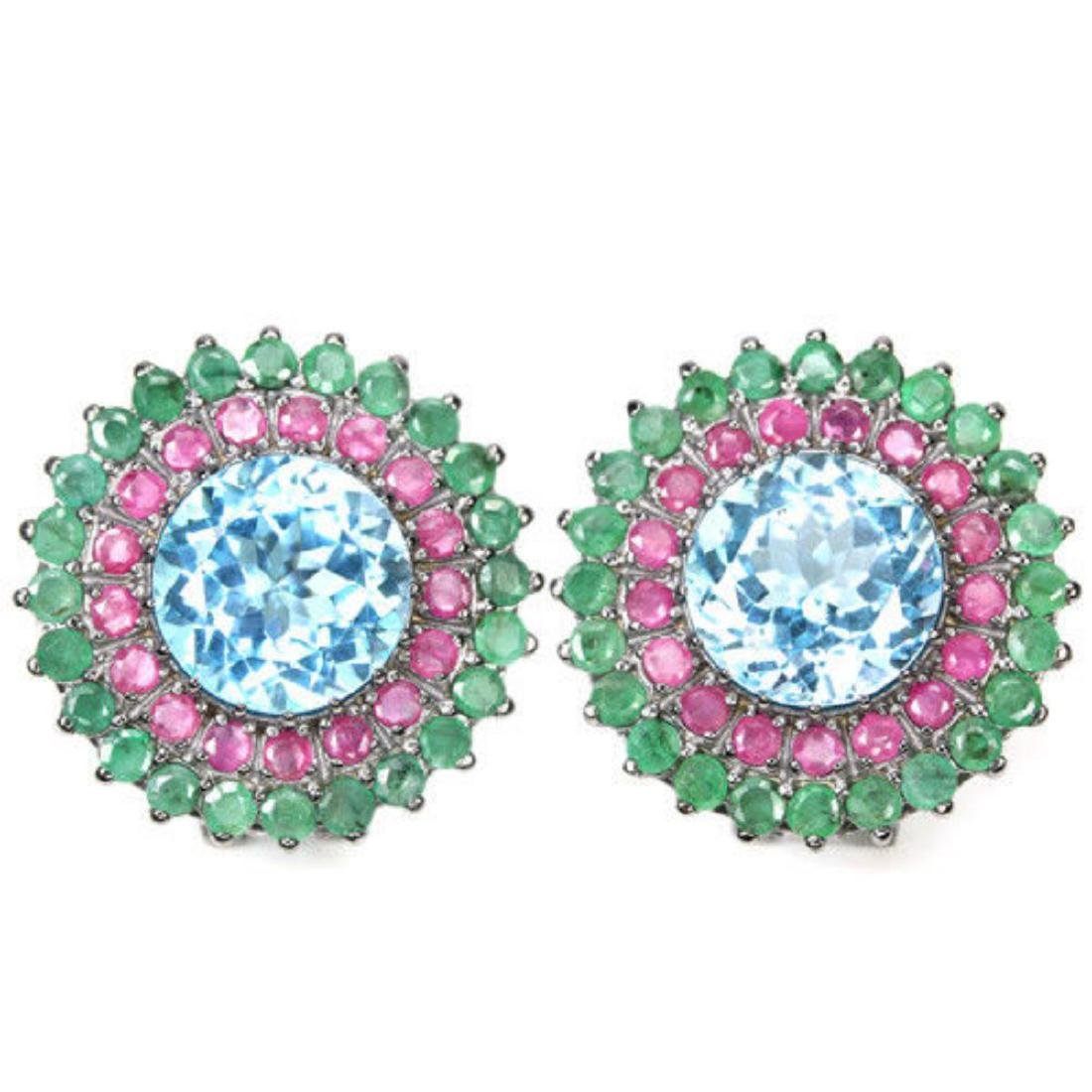 Natural MULTI COLOR TOPAZ RUBY & EMERALD Earrings