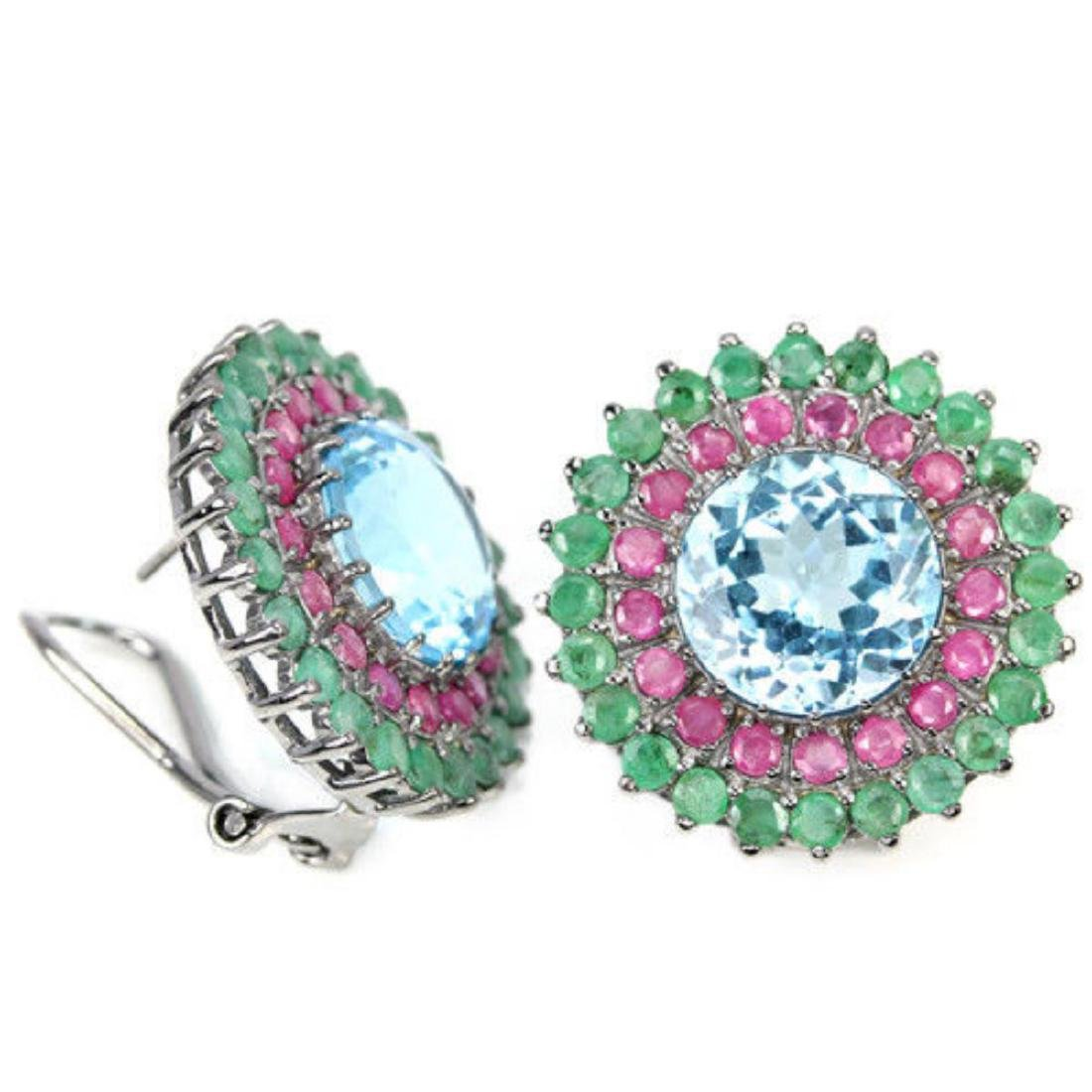 Natural MULTI COLOR TOPAZ RUBY & EMERALD Earrings - 2
