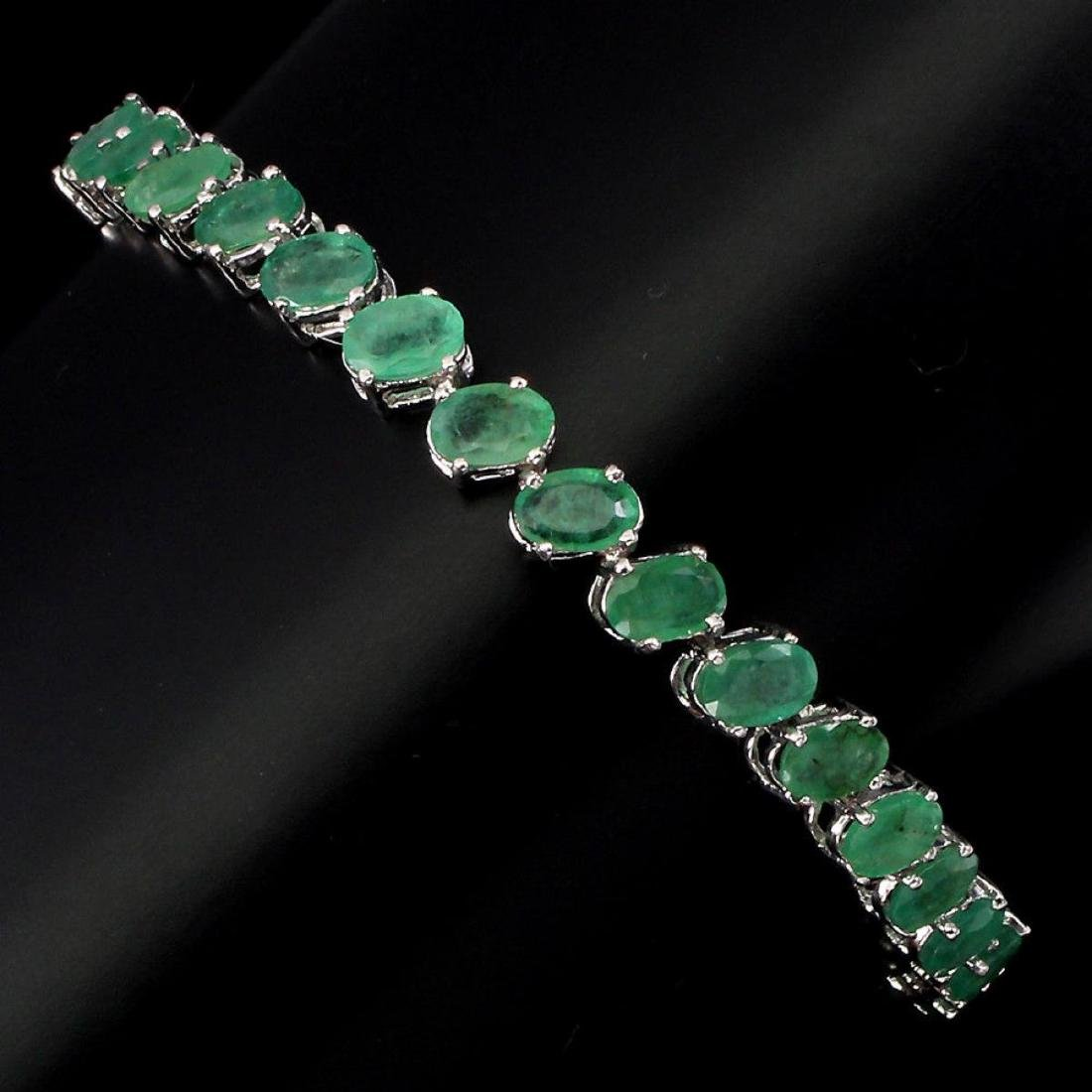 Natural 6x4mm Top Rich Green Emerald Bracelet