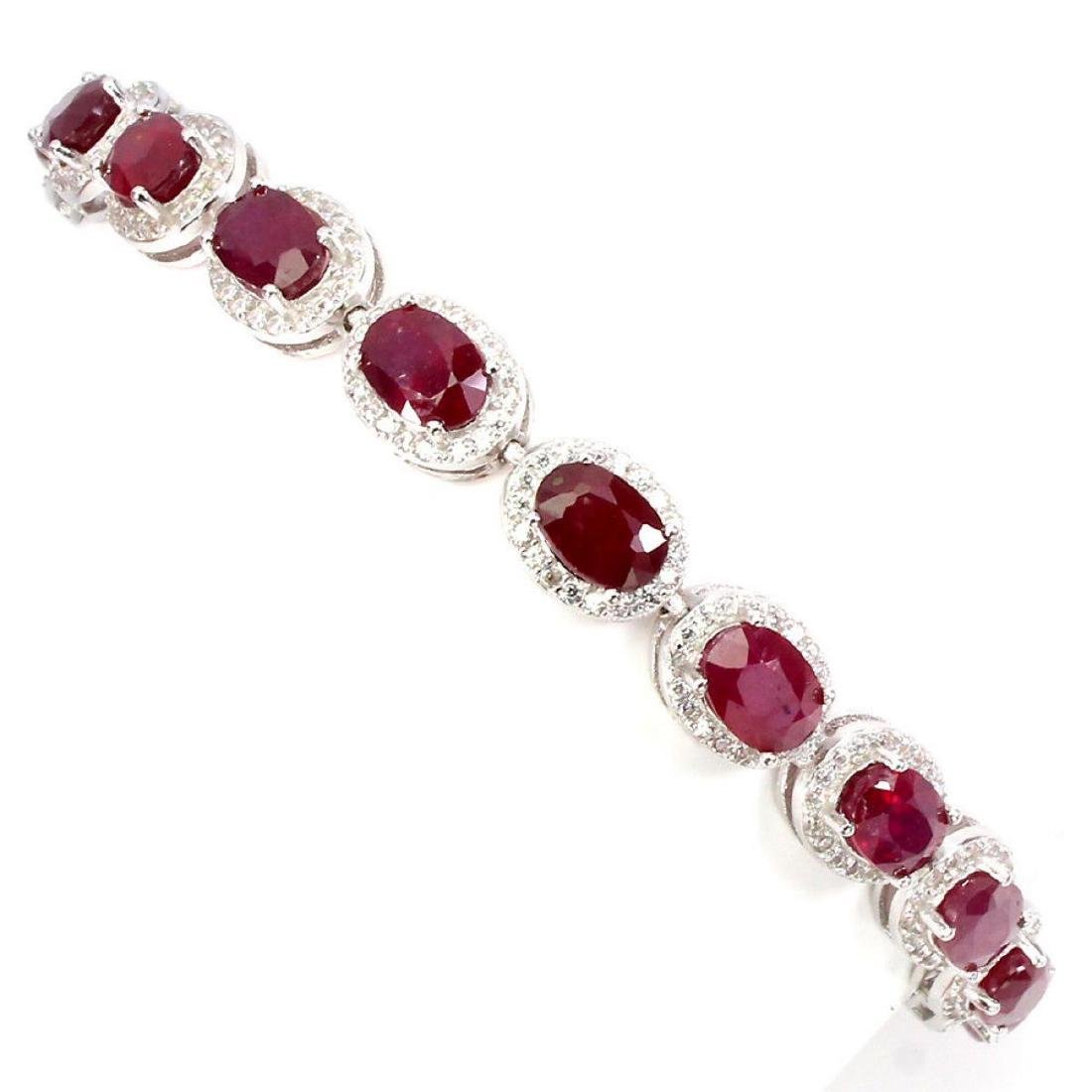 Natural Oval 7x5 Mm Blood Red Ruby Bracelet