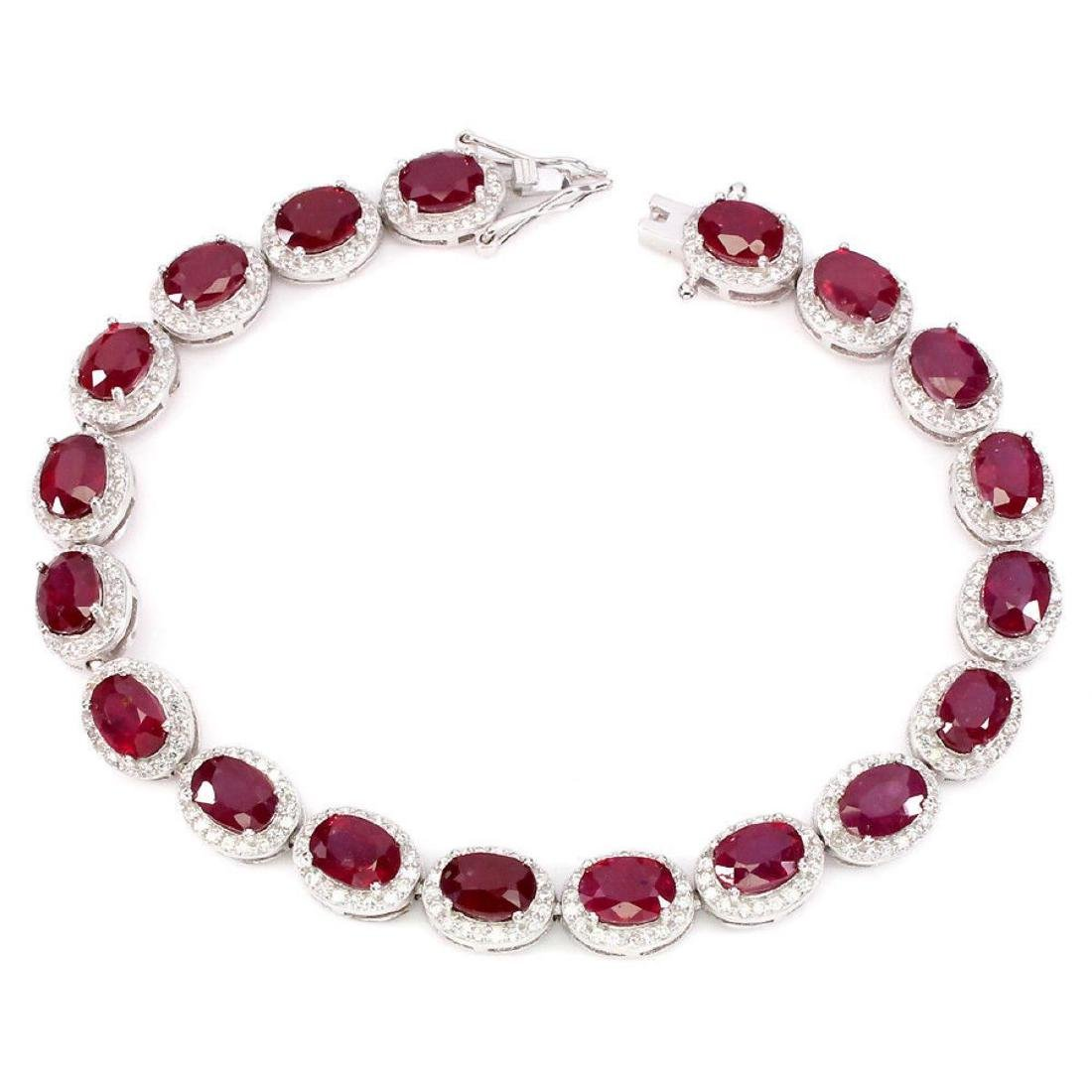 Natural Oval 7x5 Mm Blood Red Ruby Bracelet - 2