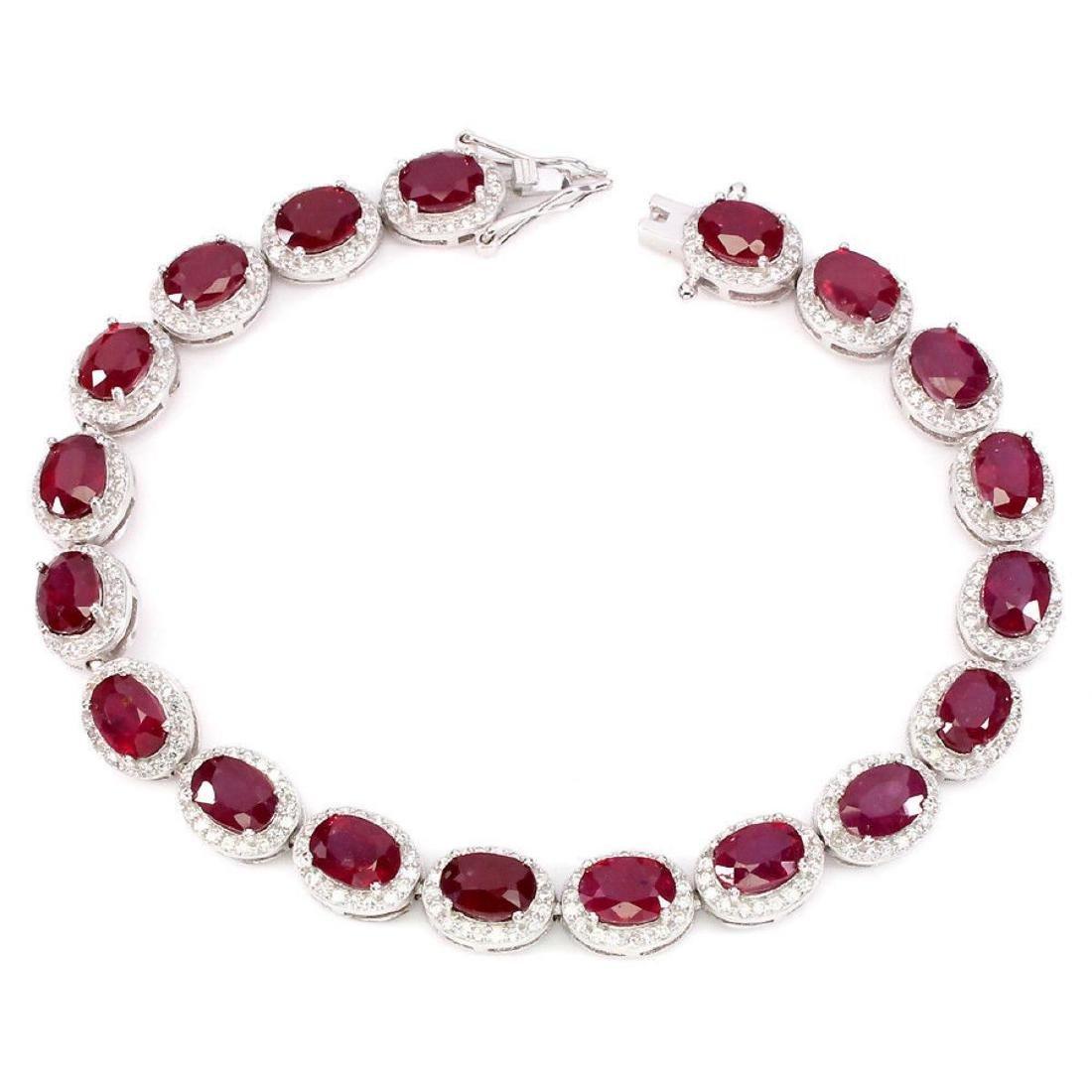 Natural Oval 7x5 Mm Blood Red Ruby Bracelet - 2