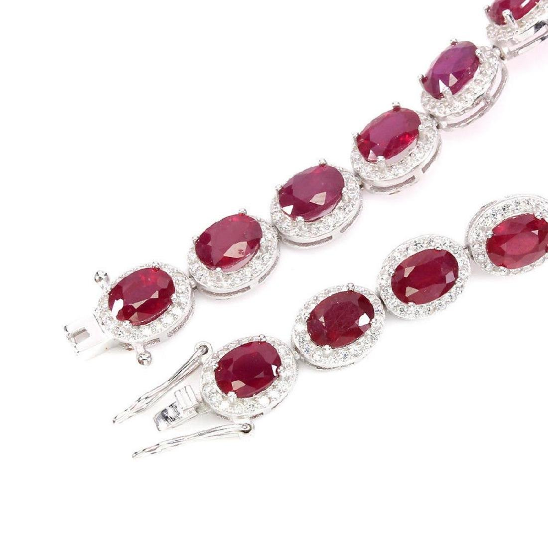Natural Oval 7x5 Mm Blood Red Ruby Bracelet - 3