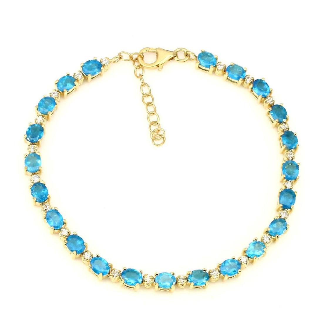 Natural Oval 5x4mm Aaa Neon Blue Apatite Bracelet - 2