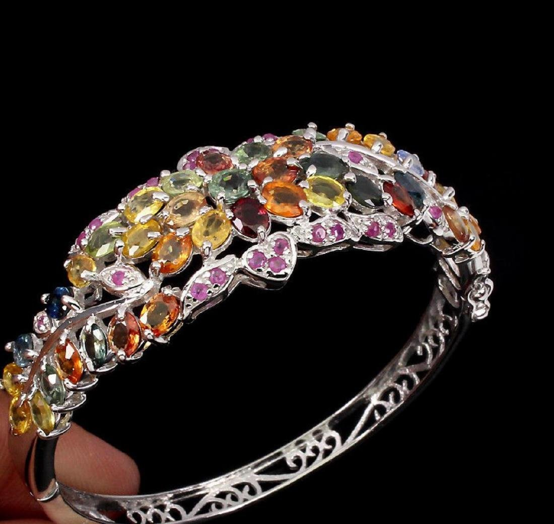 Natural Fancy Color Sapphire & Ruby 102 Ct  Bangle - 2