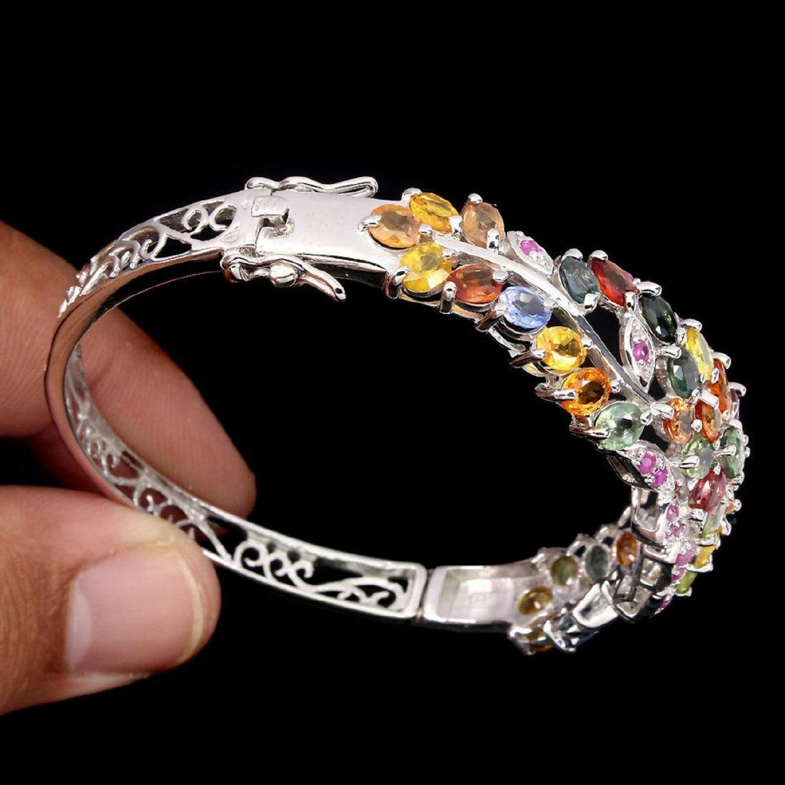 Natural Fancy Color Sapphire & Ruby 102 Ct  Bangle - 3