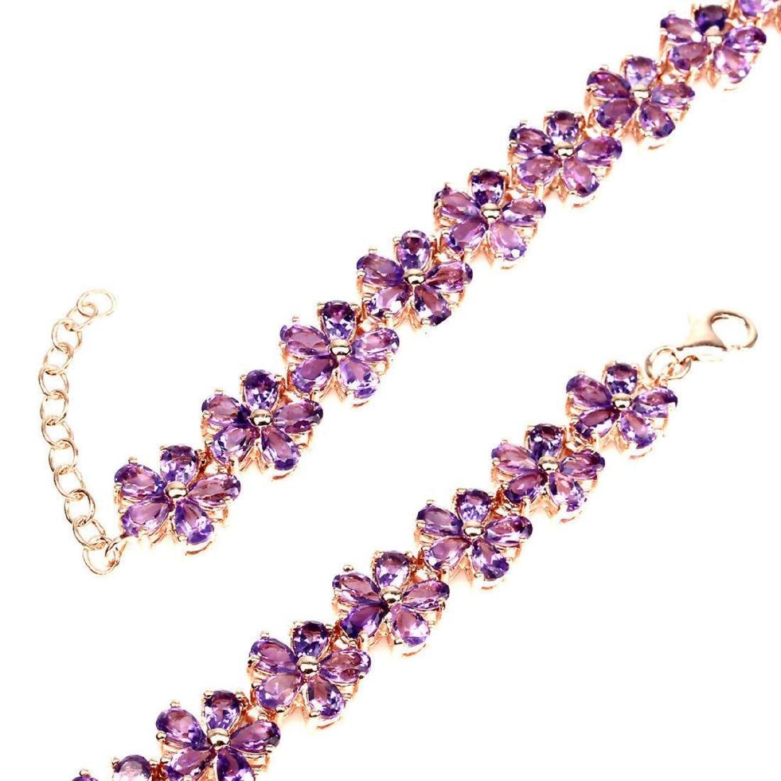 Natural Intense Purple Amethyst Flower 92 Ct Bracelet - 3