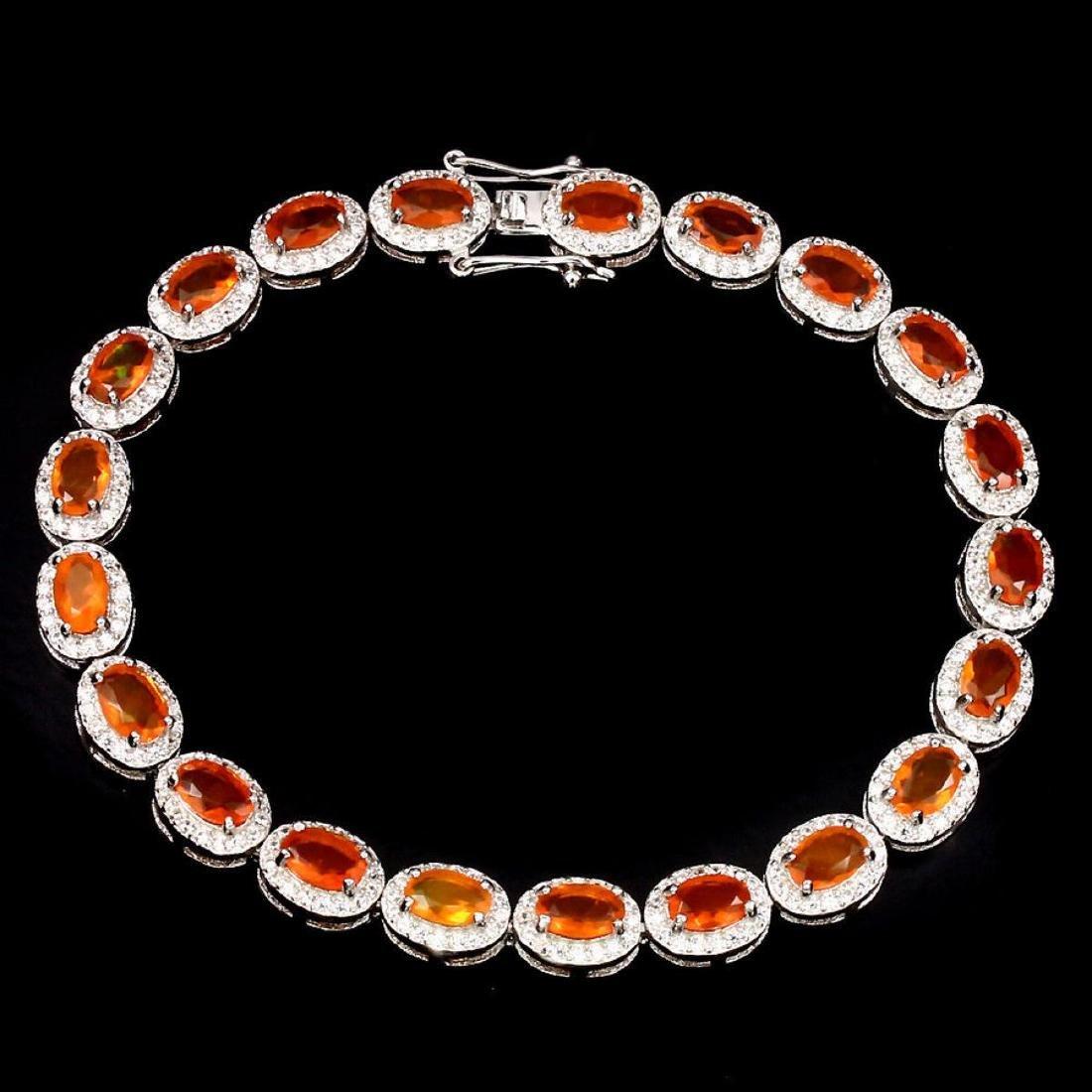 Natural Top Rich Orange Fire Opal Bracelet
