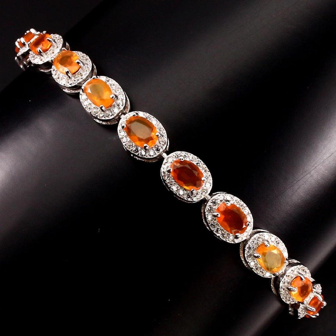 Natural Top Rich Orange Fire Opal Bracelet - 2