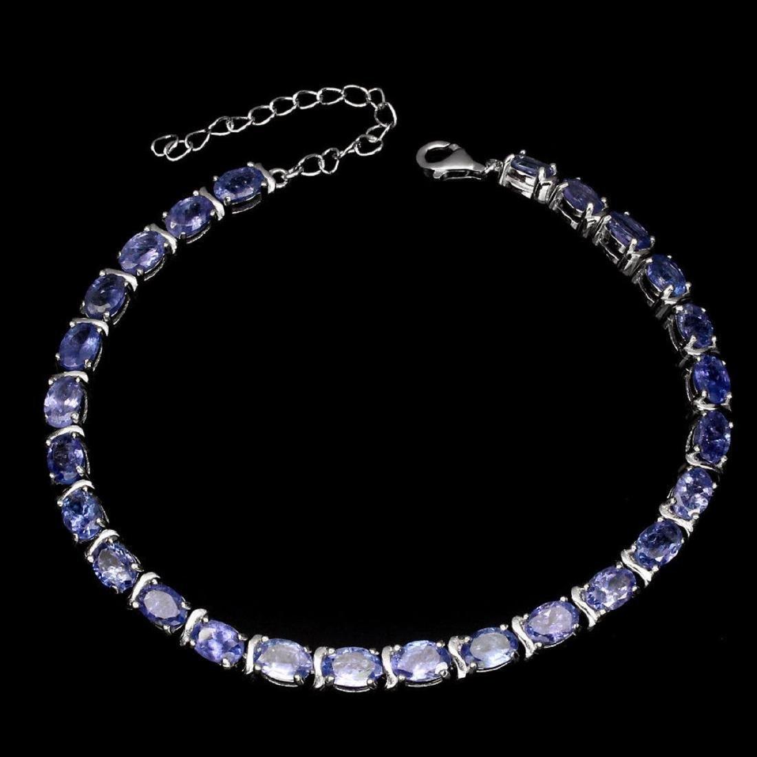 Natural Oval 6x4 mm  Blue Violet Tanzanite Bracelet - 2