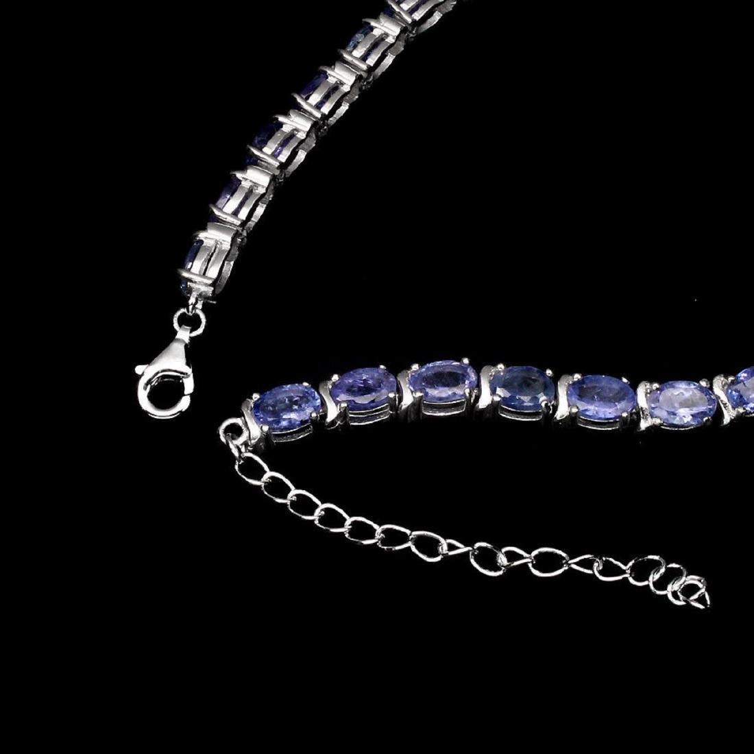 Natural Oval 6x4 mm  Blue Violet Tanzanite Bracelet - 3