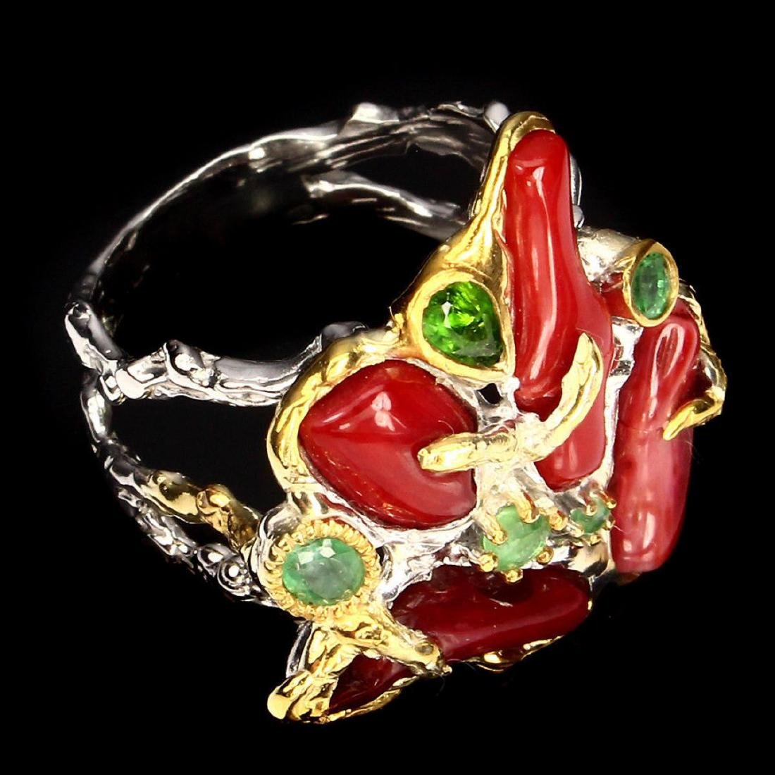 Natural 16x5 Mm Top Red Coral & Emerald Ring - 3