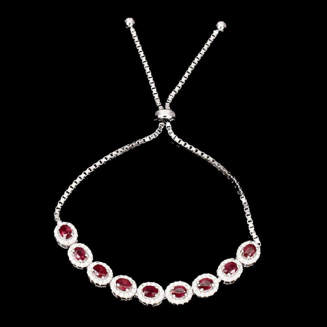 Natural Oval 4x3mm Top Blood Red Ruby Bracelet - 2