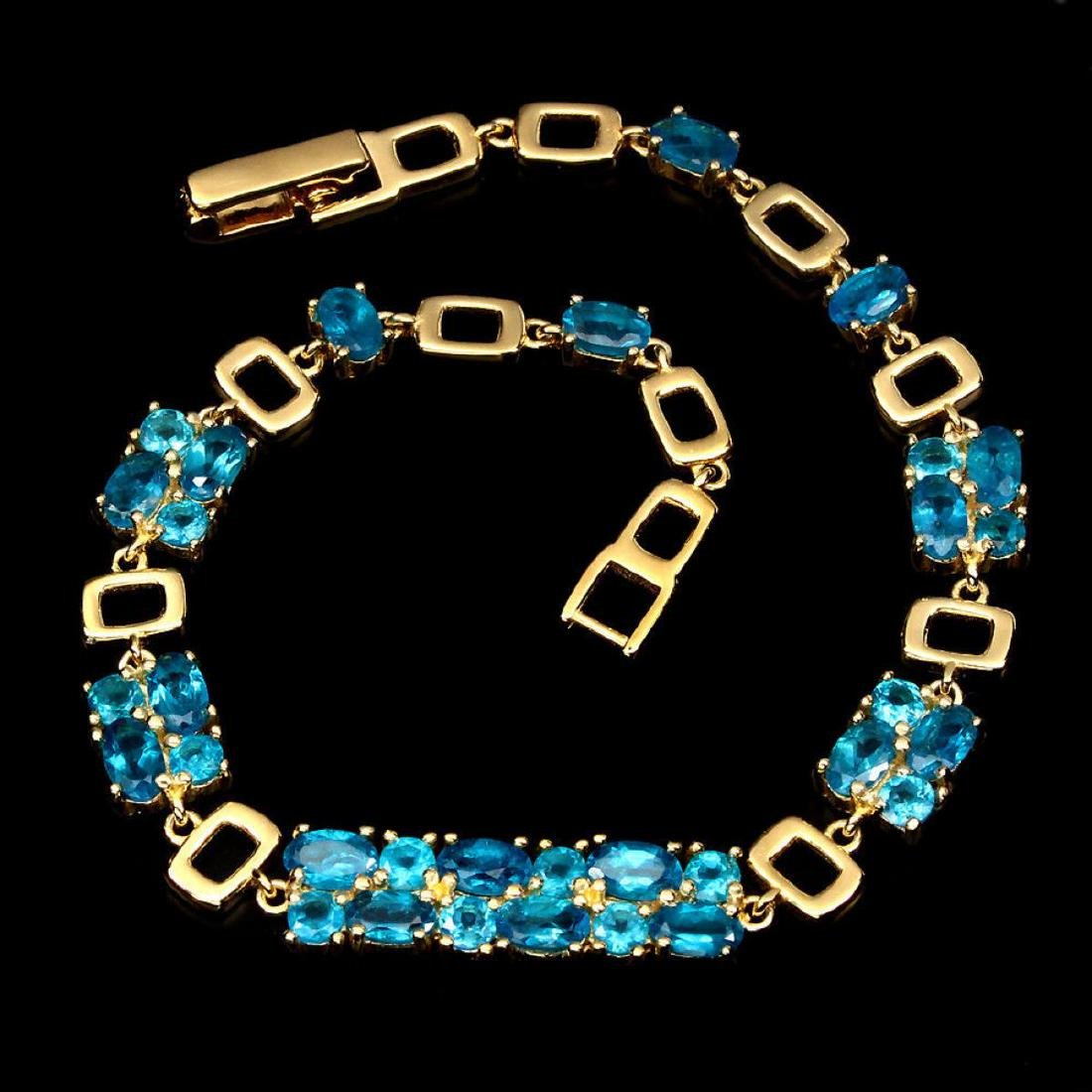 Magnificent Oval & Round AAA Neon Blue Apatite Bracelet - 2