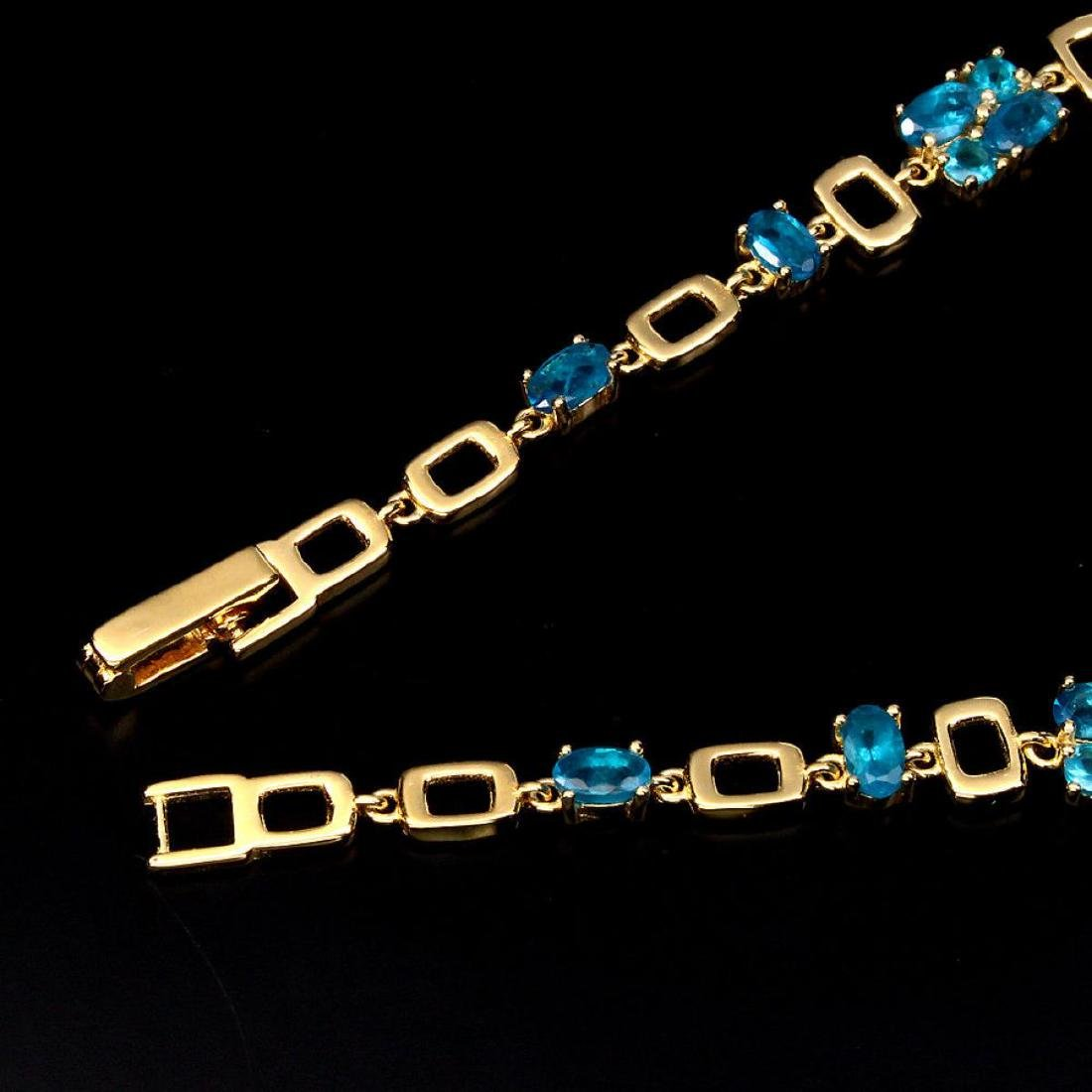 Magnificent Oval & Round AAA Neon Blue Apatite Bracelet - 3