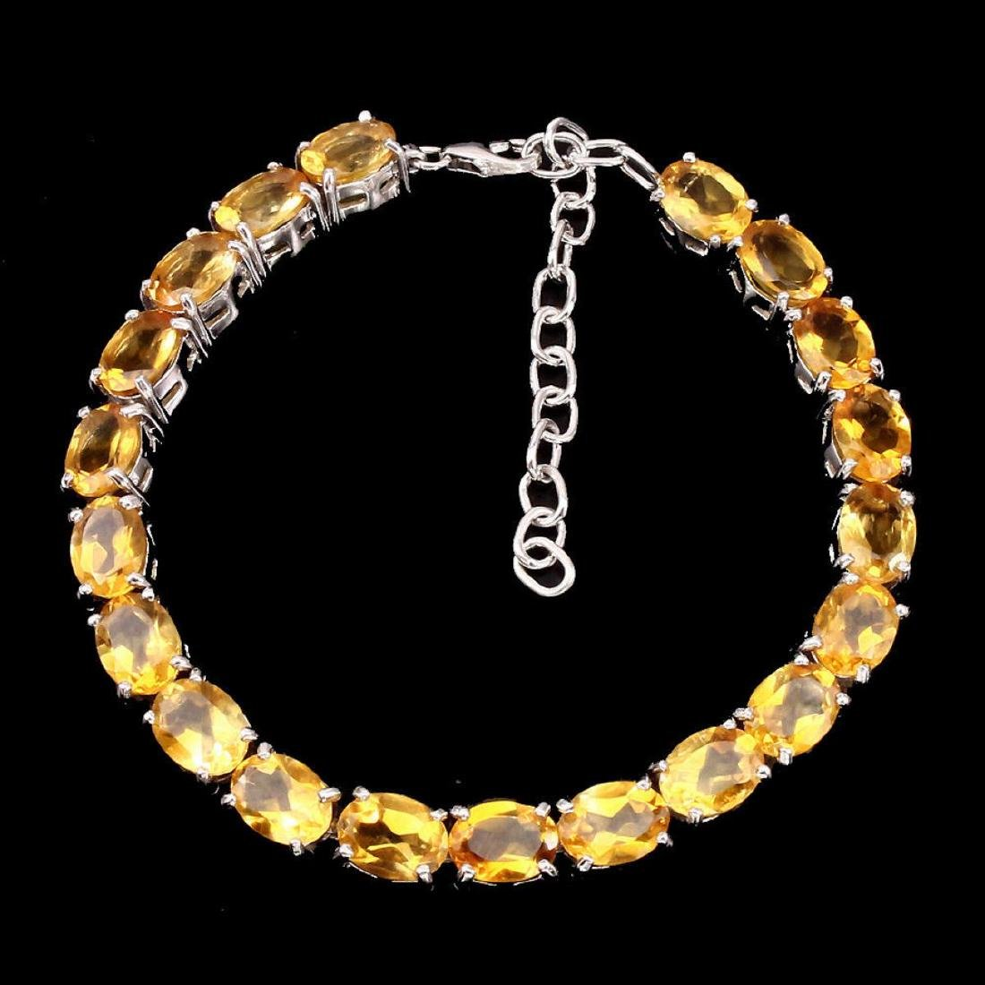 Natural Oval 8x6 mm Top Rich Yellow Citrine Bracelet - 2