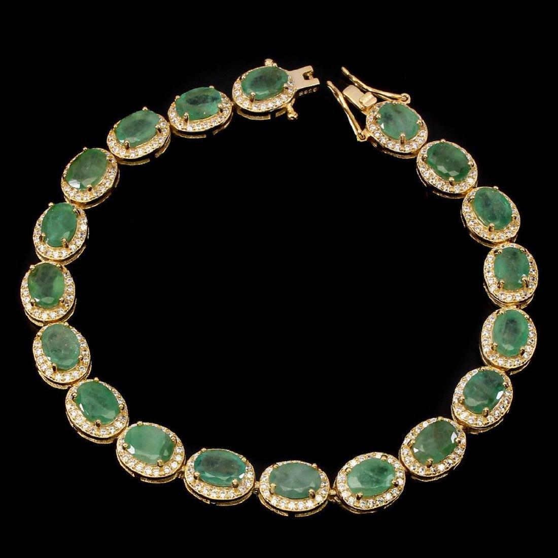 Natural Oval 7x5mm Top Rich Green Emerald Bracelet