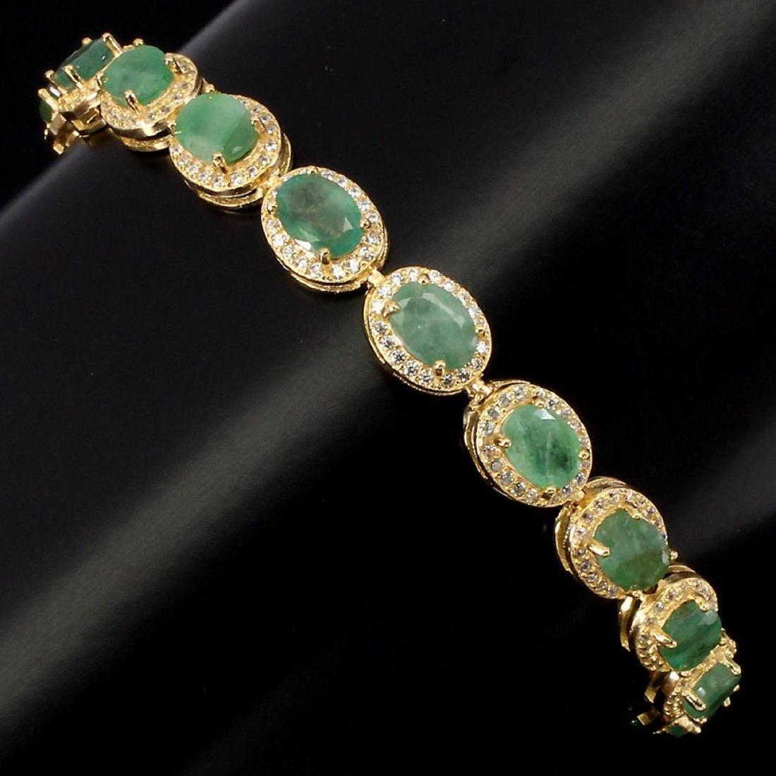 Natural Oval 7x5mm Top Rich Green Emerald Bracelet - 2