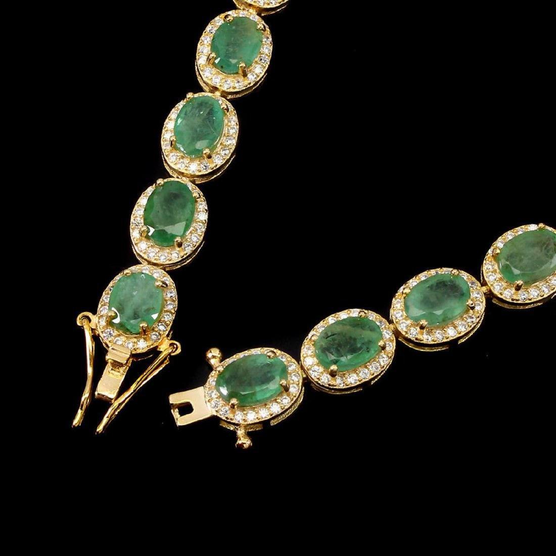 Natural Oval 7x5mm Top Rich Green Emerald Bracelet - 3
