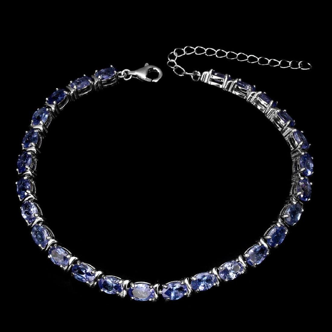 Natural Oval 6x4mm Blue Violet Tanzanite Bracelet - 2