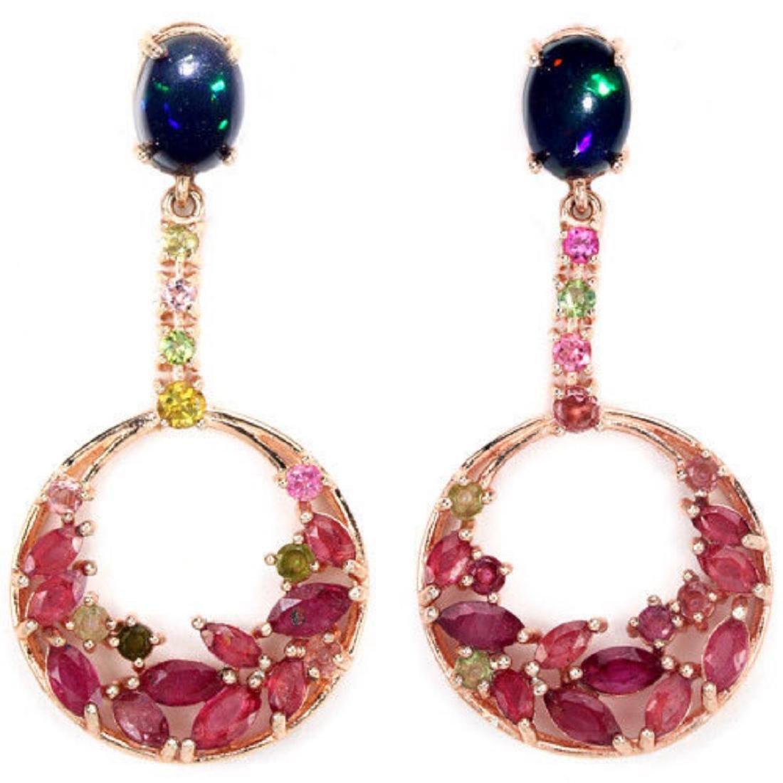 BLACK OPAL RUBY & MULTI COLOR TOURMALINE Earrings
