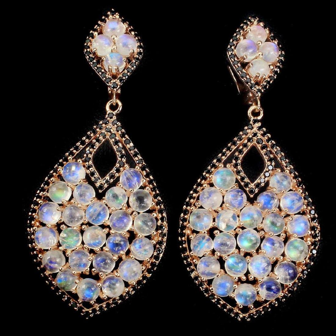 Natural Blue Moonstone & Black Spinel Earrings