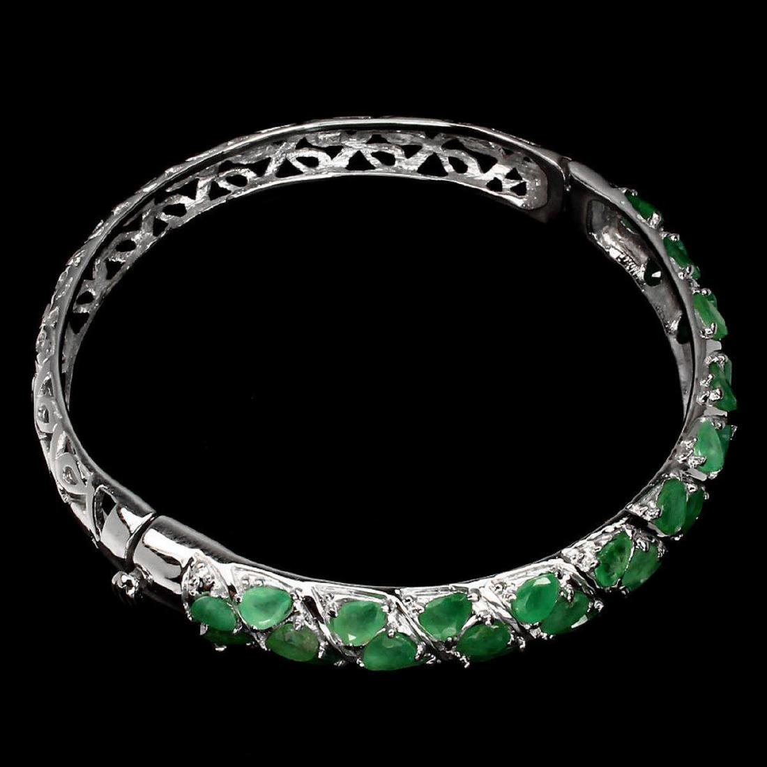 Natural Rich Green Emerald Bangle - 3