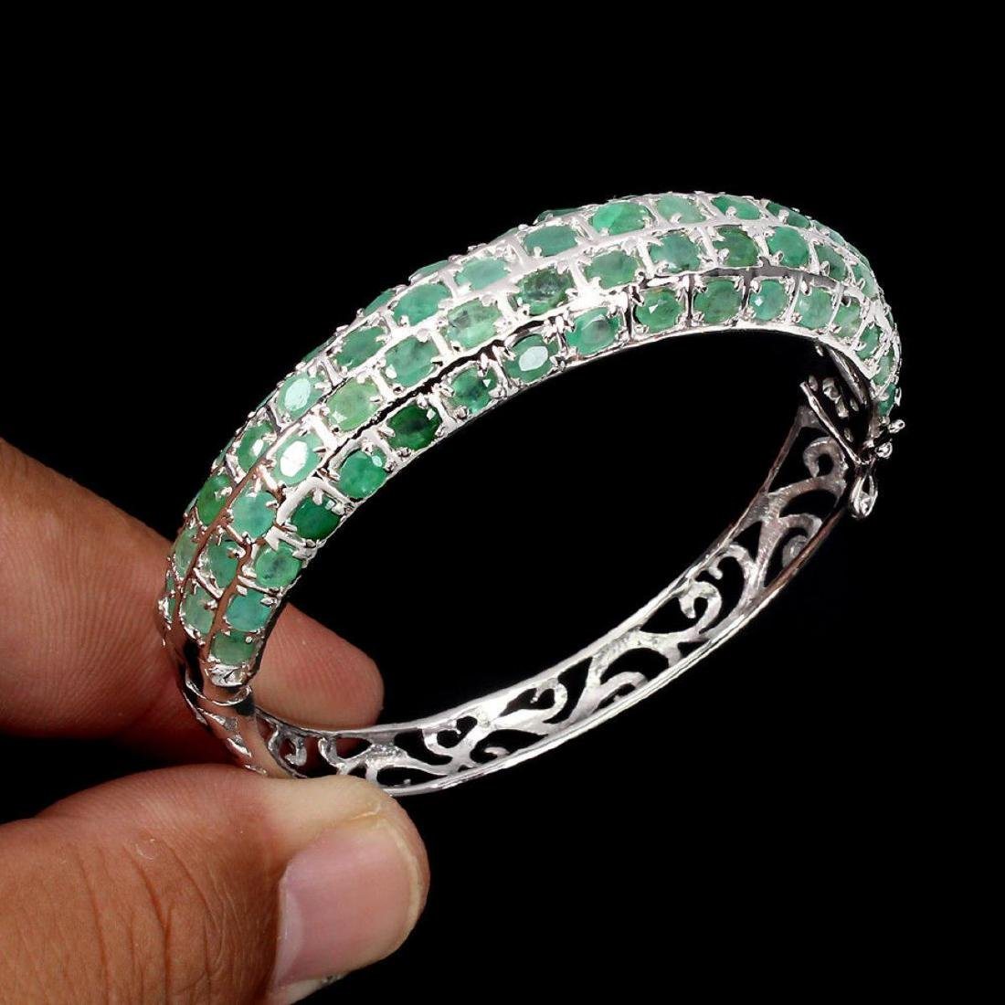 Natural Top Rich Green Emerald 113.45 Ct Bangle - 2