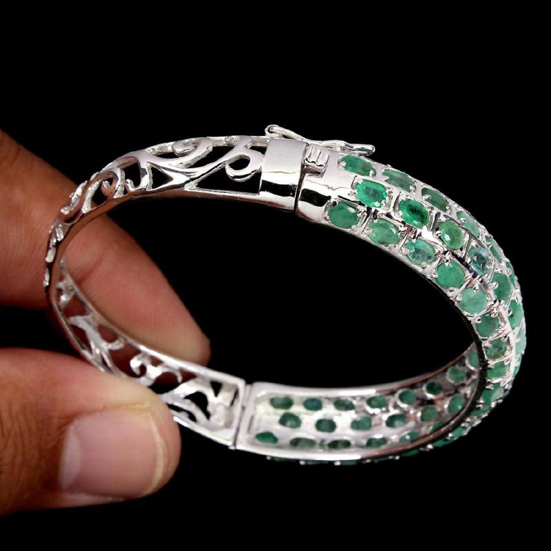 Natural Top Rich Green Emerald 113.45 Ct Bangle - 3