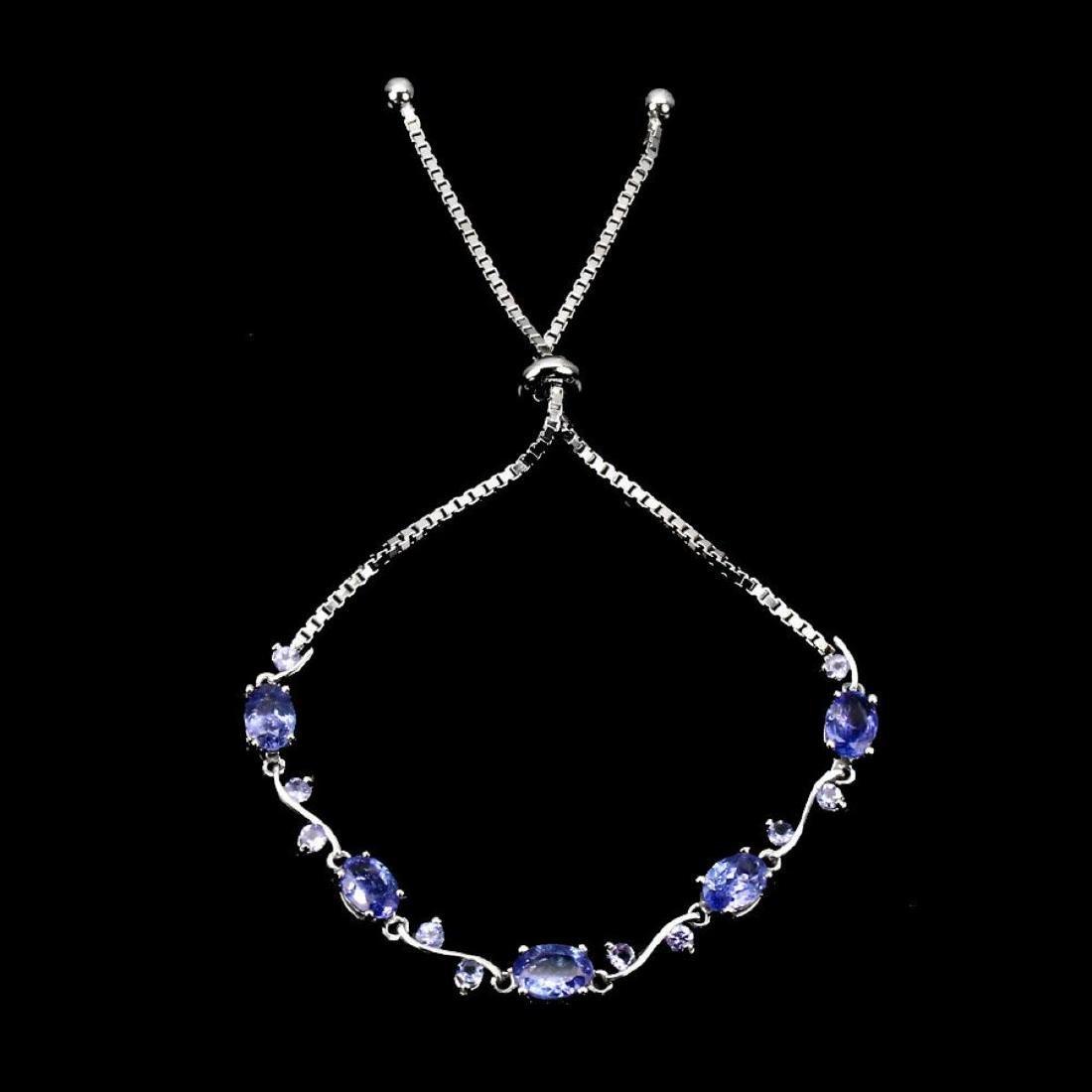 Natural Top Rich Blue Violet Tanzanite Bracelet - 2