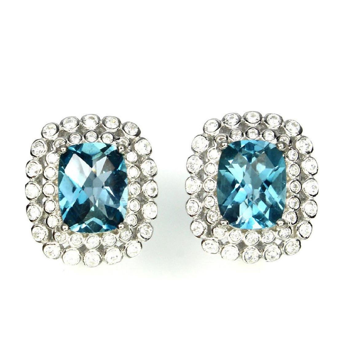 Natural 9x7mm Top London Blue Topaz Earrings