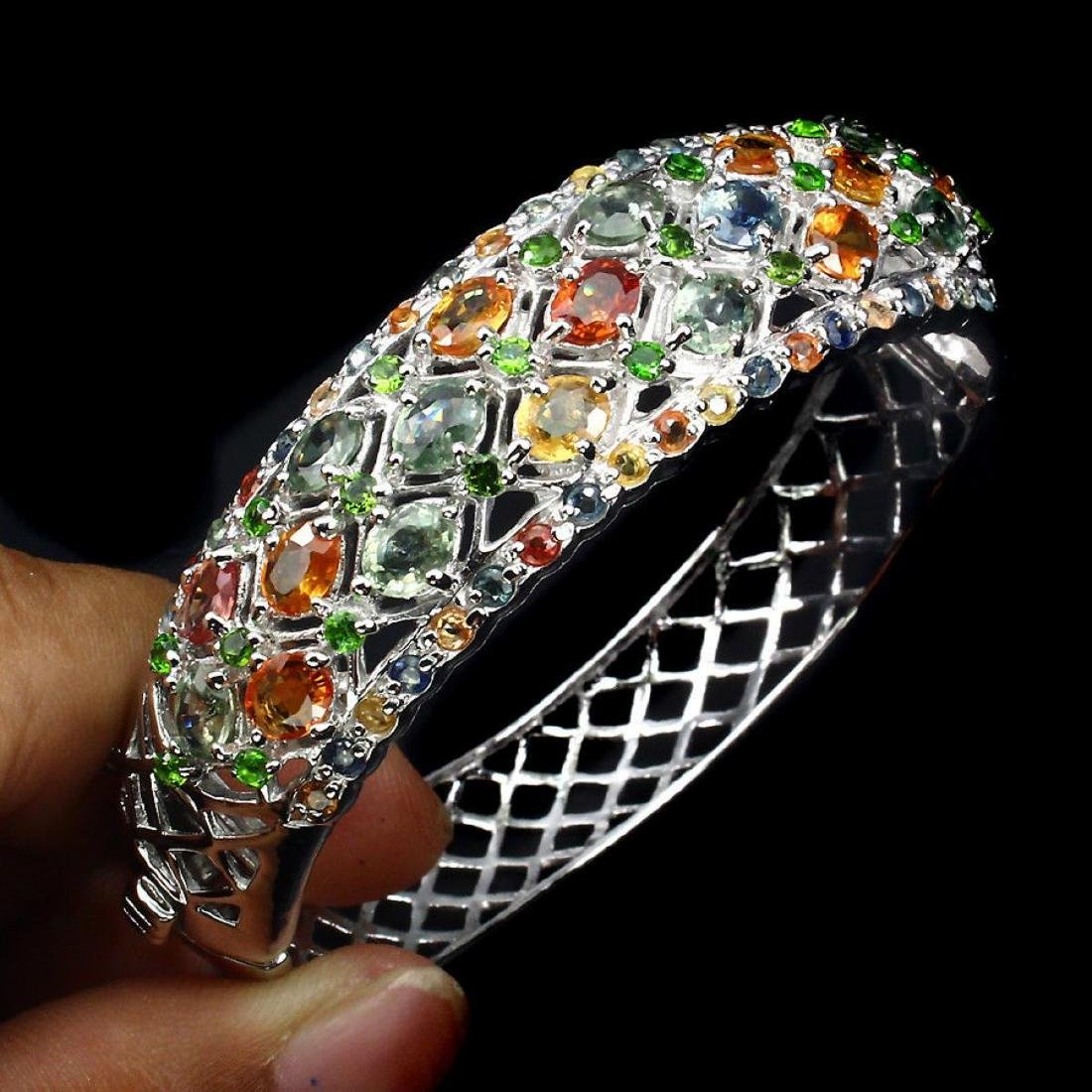 Natural Fancy Sapphire Chrome Diopside Bangle - 2